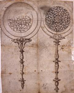 Luzio Luzzi (Todi 1510? – Roma, post novembre 1575) Studio di due specchi Penna, inchiostro bruno e grigio acquerellato su carta bruna,  mm. 272×212