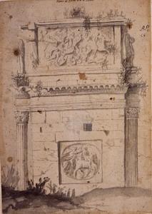 Scuola francese, metà del XVII secolo Veduta laterale dell'arco di Costantino Pennello, acquerello grigio su carta bruno chiara, mm. 340×235
