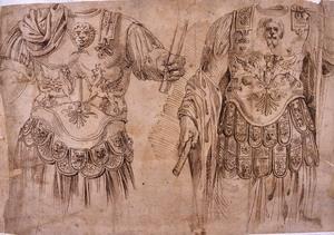 Roma, ante 1566 I due torsi loricati Farnese Penna, inchiostro bruno su carta bianca ingiallita, mm. 215×317