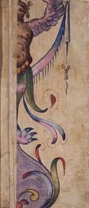Marco Marchetti? (Faenza 1526 ca. – 1588) Grottesche Acquerelli policromi su carta bianca, controfondati, mm. 228×82 ca. ciascuno
