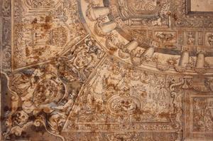 Livio Agresti (Forlì 1510 ca. – Roma 1579), attr. Progetto decorativo di soffitto con le armi del cardinal d'Este Penna, inchiostro bruno, acquerello azzurro su carta bianca, sanguigna (verso), mm. 344×236