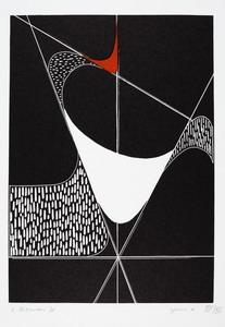 Spazio R, 1971 xilografia a 2 colori, mm 280x200 (695x500)