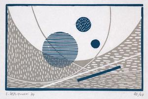 senza titolo, 1974 xilografia a colori, mm 105x165 (323x435, piegato in formato 160x218)