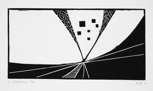 senza titolo, 1973 xilografia, mm 83x160 (165x232)
