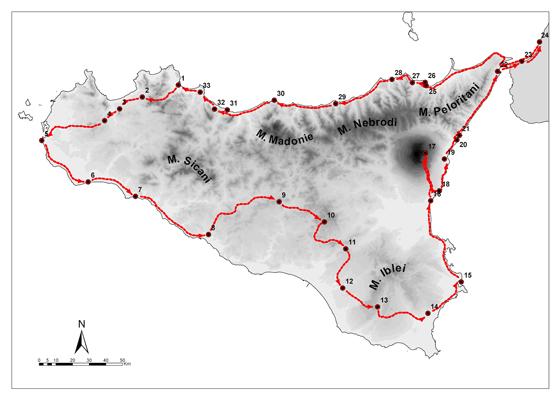 mappa Viaggio in Sicilia