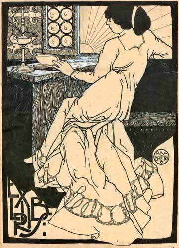 Ex libris donna che legge. (1907). Inchiostro di china e ritocchi a tempera bianca. 250x180, APP