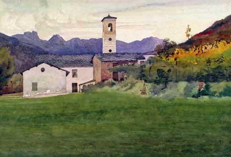 I Coppieri al tramonto. Acquerelli riprodotti in cartes postales. (1905- 1908 ca.). 353x503,