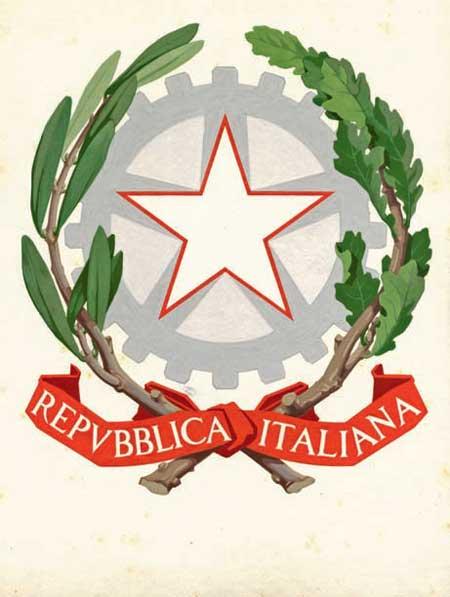 Bozzetto dell'emblema della Repubblica. 18 aprile 1948, tempera colorata, tracce di matita su cartone, 442x408, nel cartiglio REPUBBLICA ITALIANA; in basso a destra il simbolo di Paolo Paschetto seguito dalla data, 18 aprile 1948, (ACS, Presidenza del Consiglio dei ministri, Gabinetto, 1948-50, fasc. 3.3.2/12484 Concorso per l'emblema della Repubblica)