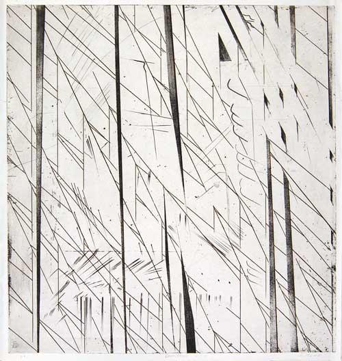 La cattedrale, 1976 - 1978 dalla serie: Omaggio a T.S. Eliot bulino, acquaforte e puntasecca su rame mm 540x497 (563x528)