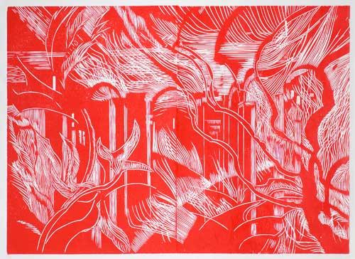 Venosa, la cattedrale incompiuta, 2013 xilografia a colori mm 900x1240, due matrici stampate affiancate