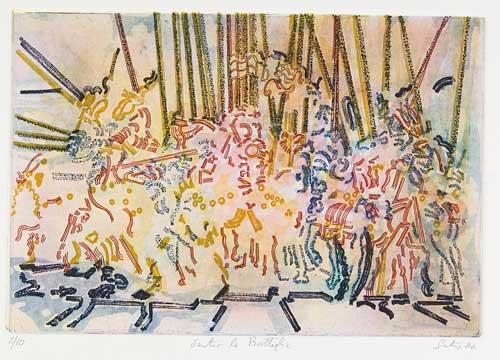 Dentro la battaglia, 1984 dal trittico smembrato di Paolo Uccello (elemento conservato a Parigi) acquaforte e morsura a pennello a colori su zinco mm 247x362 (497x700), quattro matrici stampate sovrapposte iscrizioni: 2/10, Dentro la Battaglia, Santoro 84