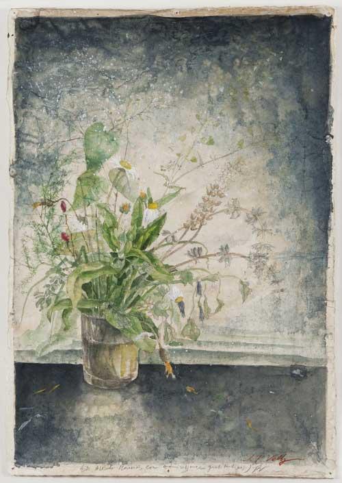 Fiori, 1982 - acquerello, tempera, grafite su carta giapponese