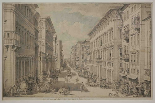 <strong>Francesco Panini</strong> Roma 1738 - 1800 <em>Roma. Veduta di via del Corso</em> 1770 ca. - penna, inchiostro nero, inchiostro grigio acquerellato - Roma, Istituto centrale per la grafica
