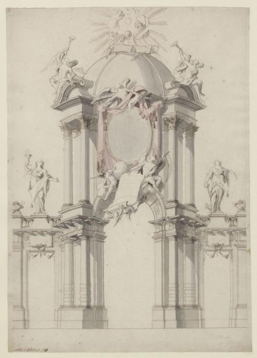 ANONIMO, precedentemente attribuito a Jan Van Der Heijden (Bruxelles 1720 ca. ) Progetto per un arco di trionfo per il Giubileo del Santissimo Sacramento a Bruxelles nel 1720