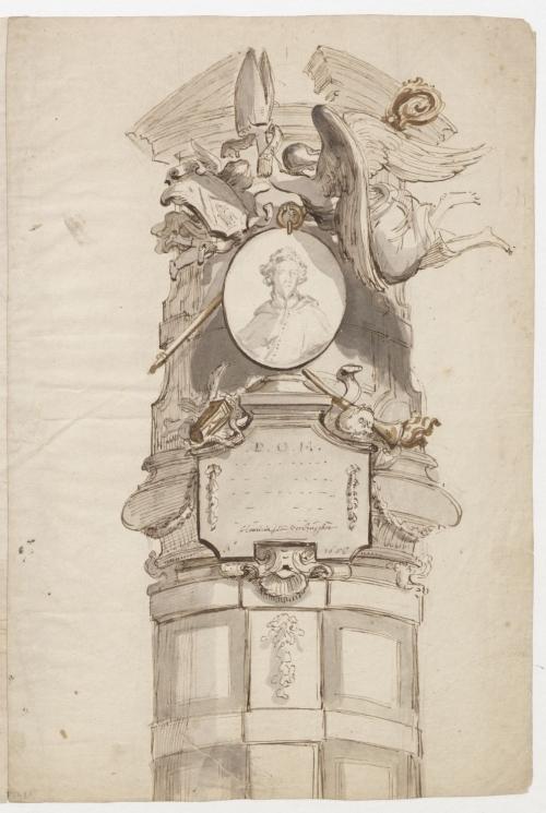 HENDRIK FRANS VERBRUGGEN (Anversa 1654 - Anversa 1724) Progetto per il monumento funerario di Gerardus Knyff, 44° Abate dell'Abbazia San Michele di Anversa